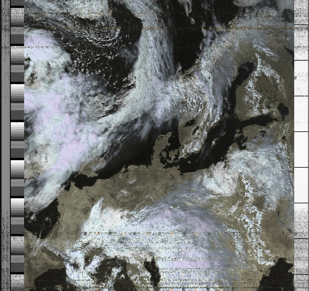 Weather satellite image received with LimeSDR.