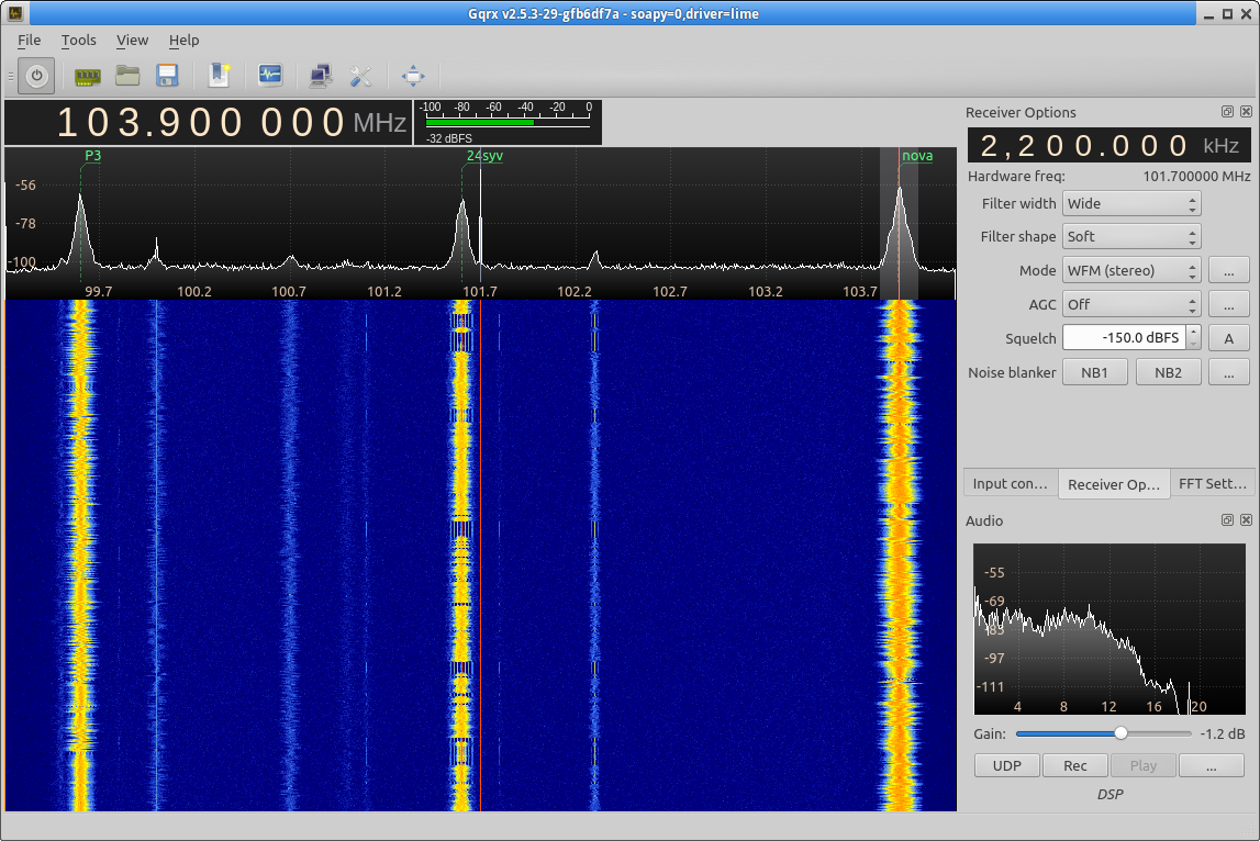Receiving FM radio with LimeSDR and gqrx.