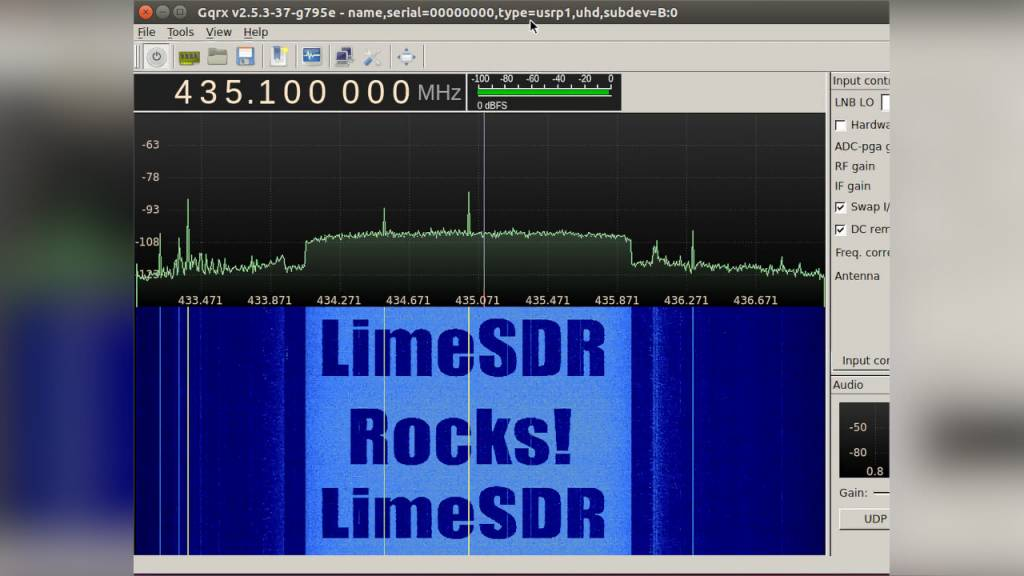 "Chuck Swiger's ""LimeSDR Rocks"" Waterfall Demo"