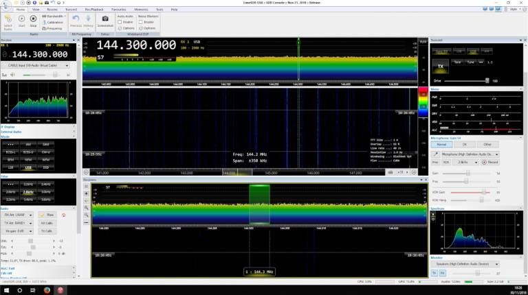 SDR-Console transmitting via LimeSDR, courtesy of Jason Fairfax
